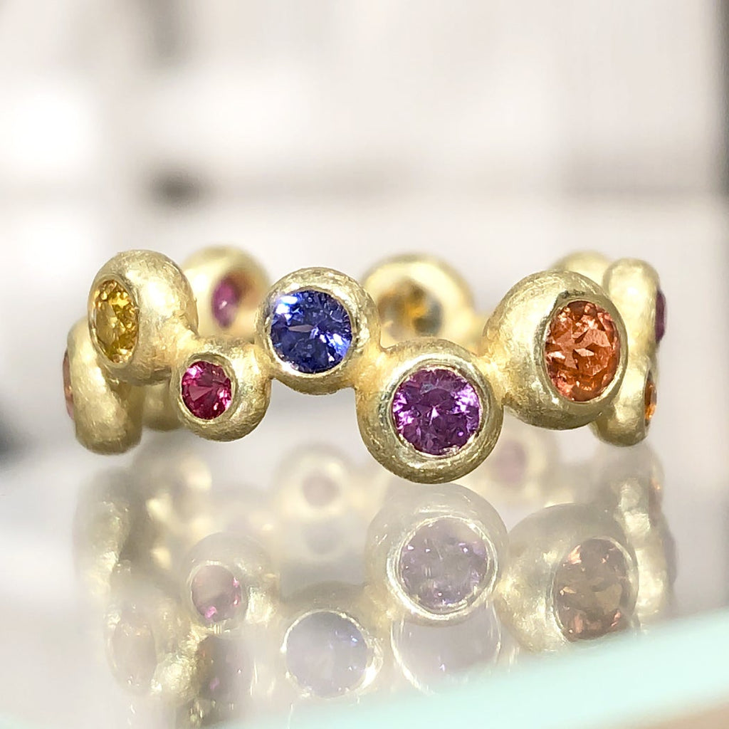 Barbara Heinrich Vibrant Multi-Color Sapphire Matte Gold Random Bubble Band Ring - Szor Collections