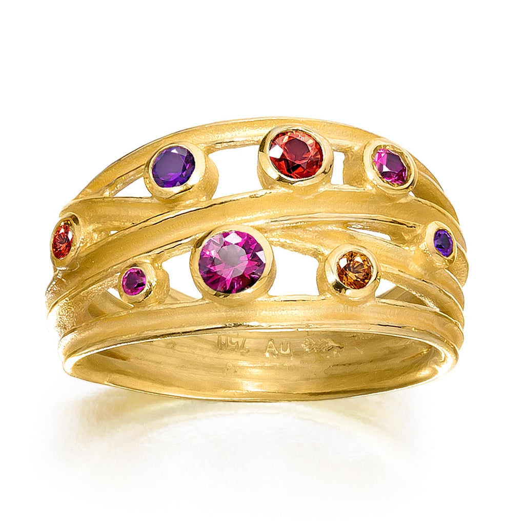 Barbara Heinrich Bright Multicolored Sapphire Open Wrap Gold Band Ring - Szor Collections