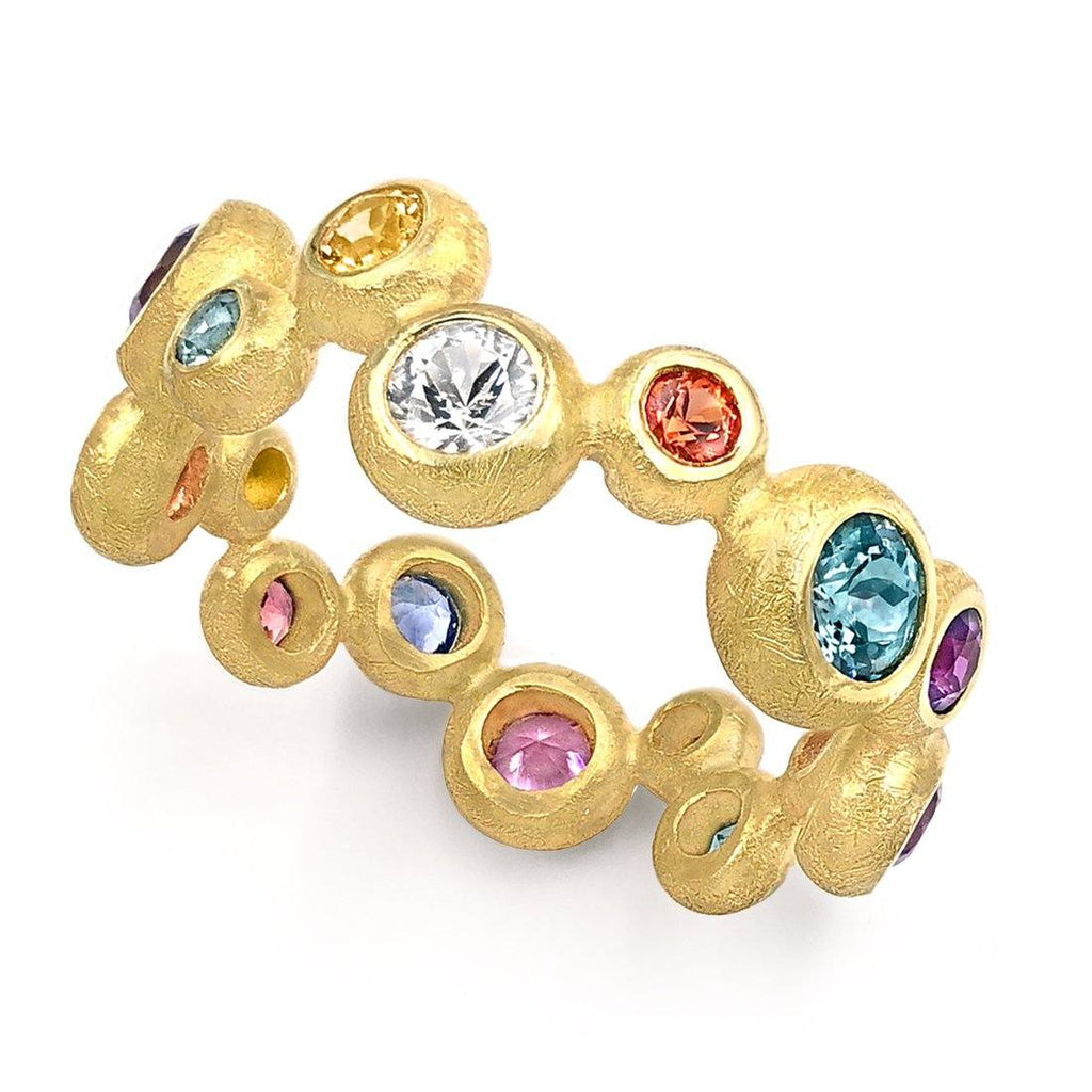 Barbara Heinrich Multi-Colored Sapphire Gold Random Bubble Ring - Szor Collections
