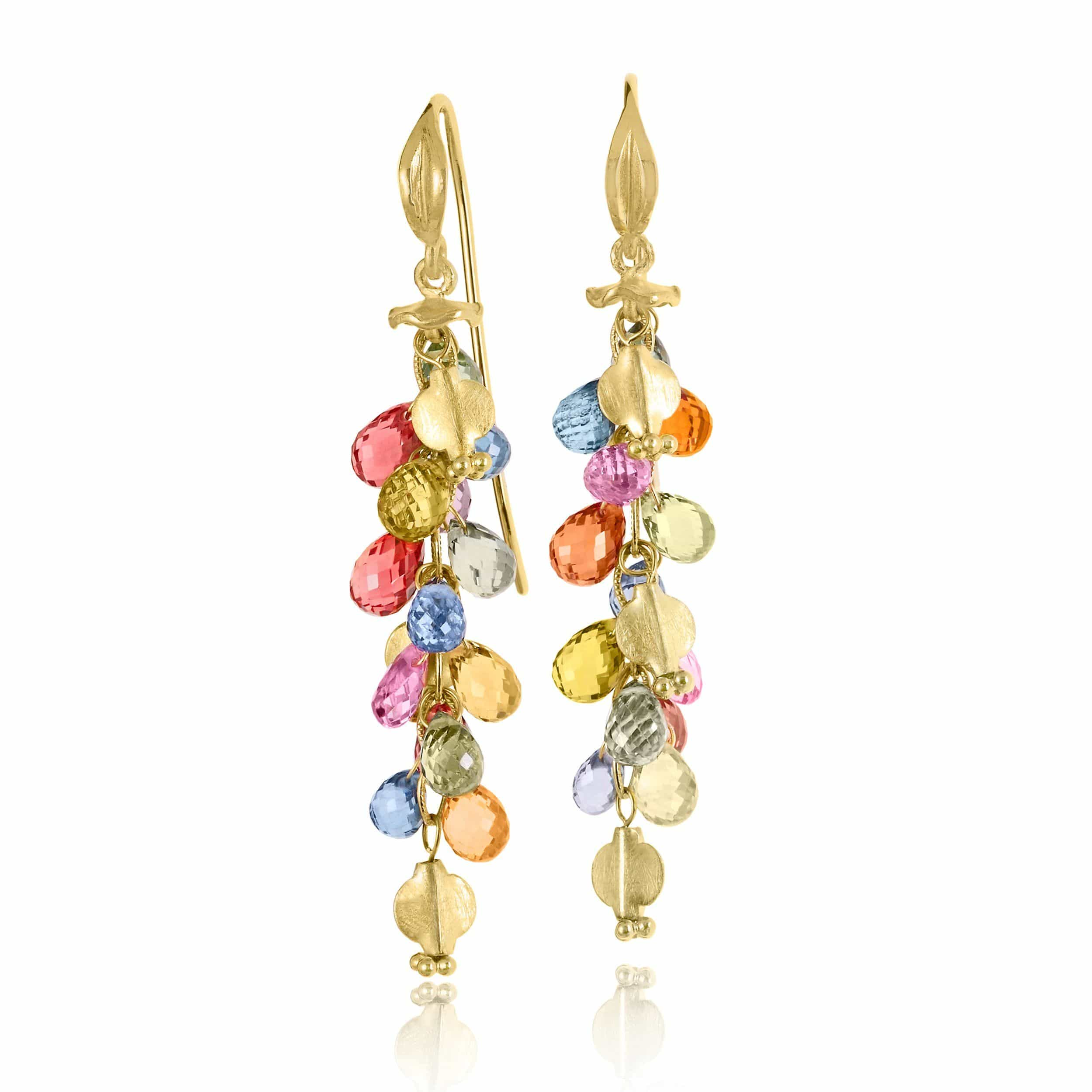 yellow sapphire multicolored rainbow tw in gold earrings