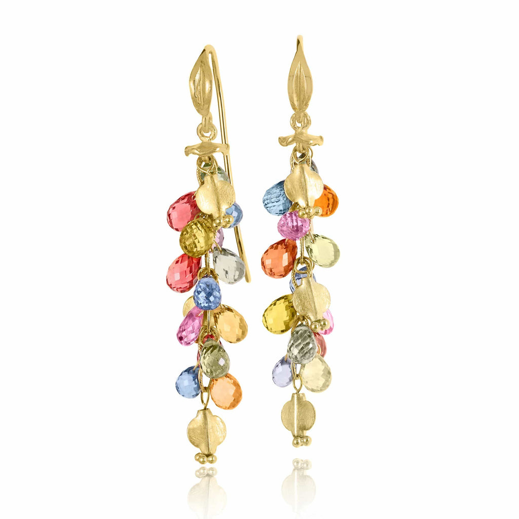 Barbara Heinrich Multicolored Sapphire Briolette Wing Drop Earrings (Special Order) - Szor Collections