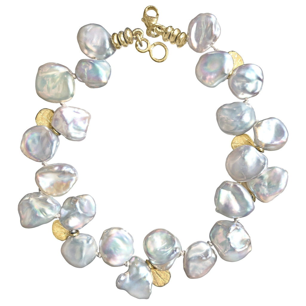 Barbara Heinrich Silver Blue Keshi Pearl Gold Petals One of a Kind Bracelet - Szor Collections