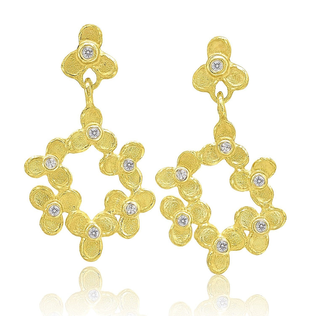 Barbara Heinrich White Diamond Trillium Flower Drop Gold Earrings (Special Order) - Szor Collections