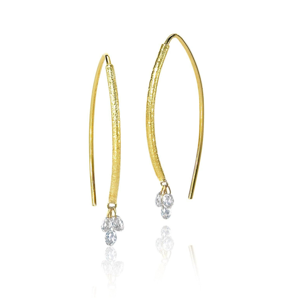 Barbara Heinrich Faceted White Diamond Briolette Earrings (Special Order) - Szor Collections