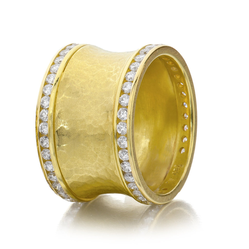Barbara Heinrich Channel Set Diamond Hammered Wide Band Ring - Szor Collections