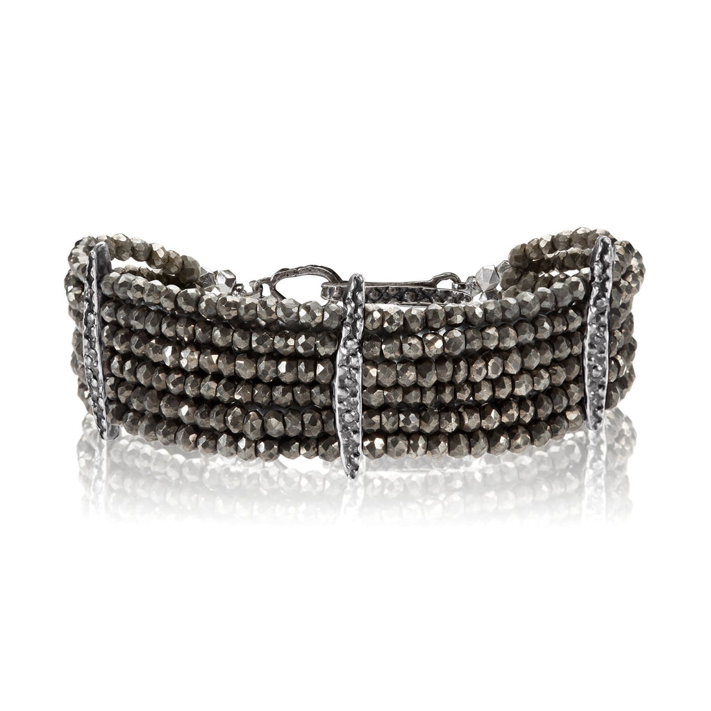 Lauren Wolf Six Strand Pyrite Stingray Bracelet - Szor Collections