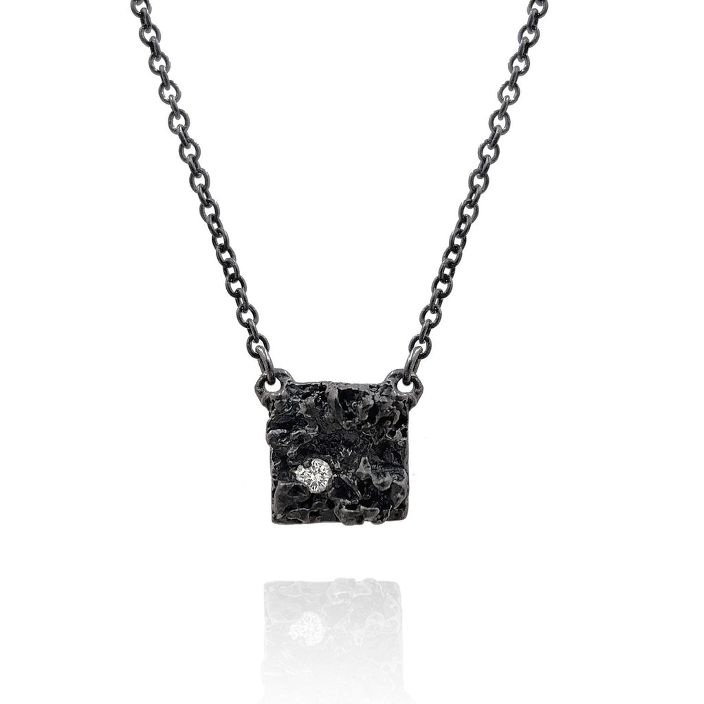Branch Oxidized Silver White Diamond Chryseum Square Necklace - Szor Collections