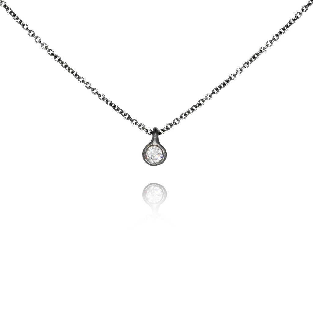 Branch White Diamond Oxidized Silver Necklace - Szor Collections