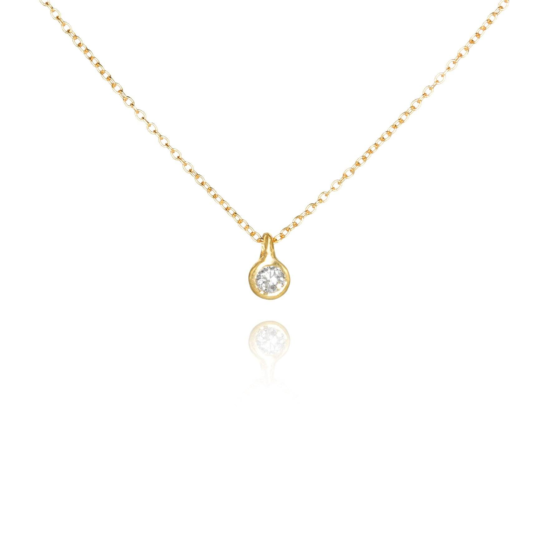 Branch White Diamond Solitaire Gold Necklace - Szor Collections
