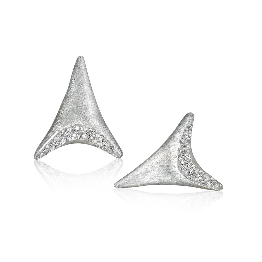 Branch White Diamond Sterling Silver Dagger Earrings - Szor Collections
