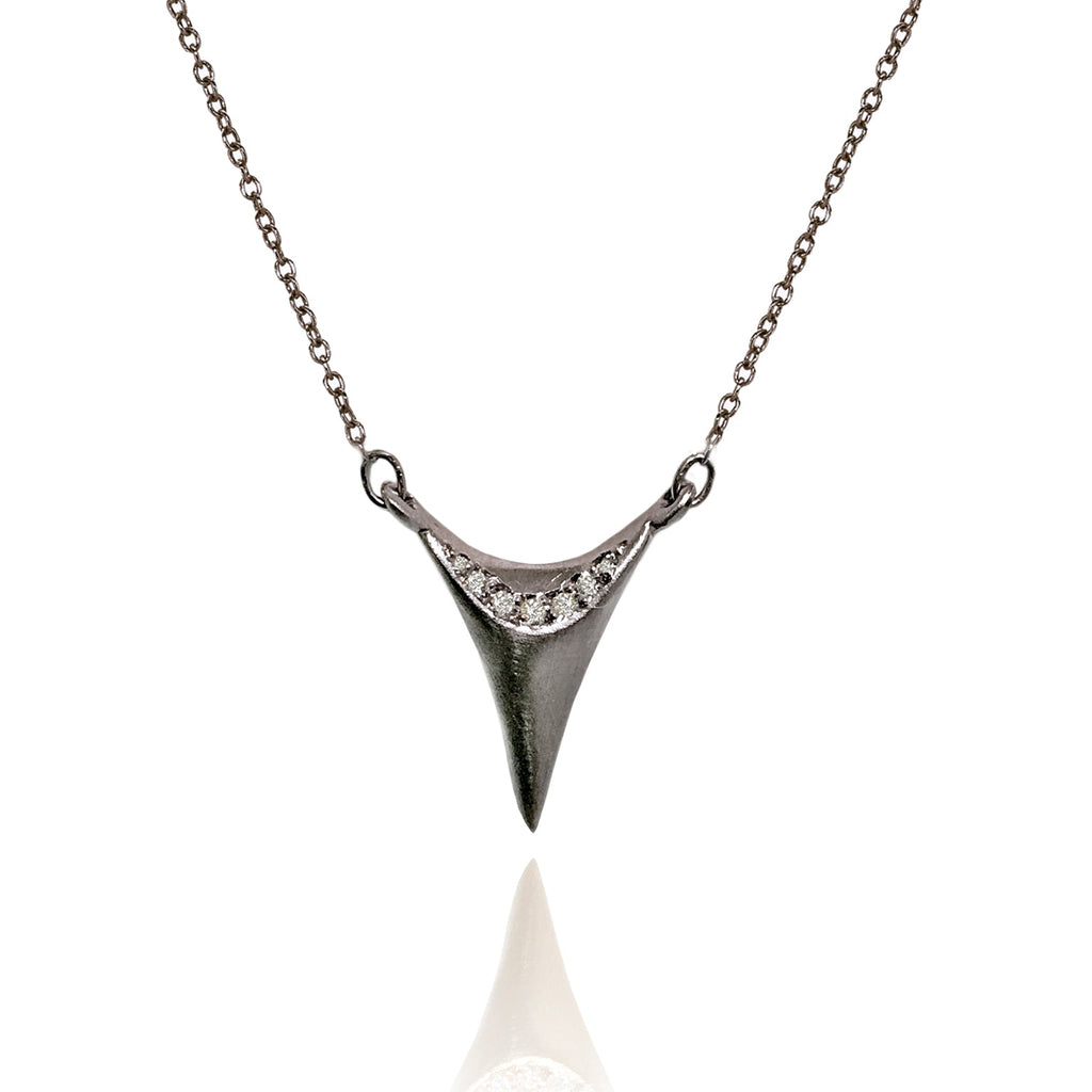 Branch Pave Diamond Dagger Oxidized Silver Necklace - Szor Collections