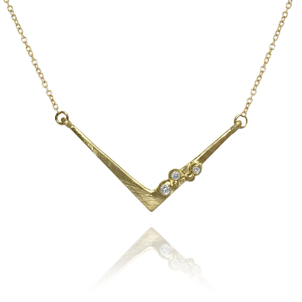 Branch Encrusted Angles Diamond Silver or Gold Necklace - Szor Collections