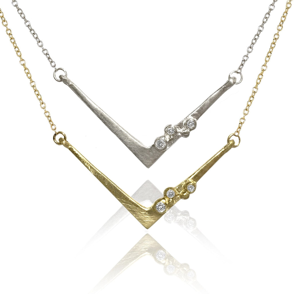 Branch Encrusted Angles Diamond Silver or Gold Necklace (Special Order) - Szor Collections