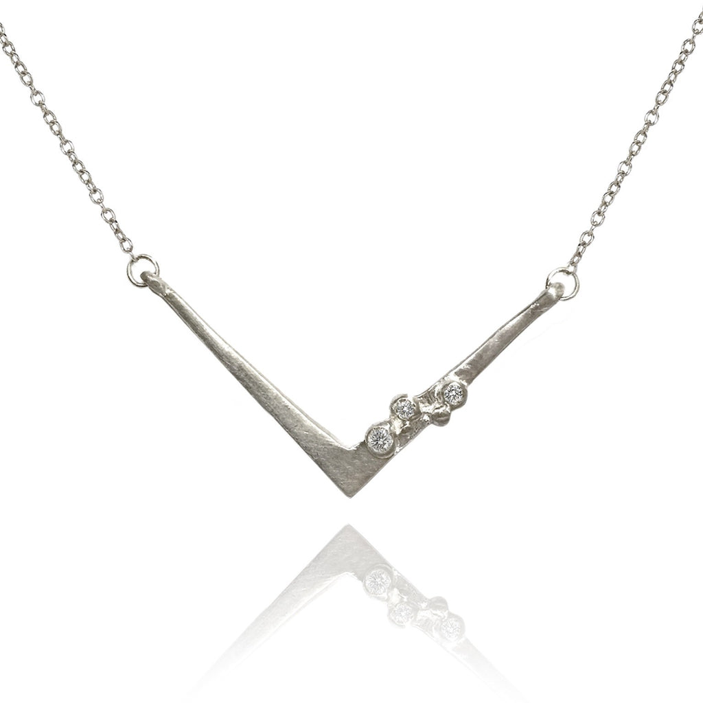 Branch Encrusted Angles Diamond Silver or Gold Necklace - Szor Collections - 3