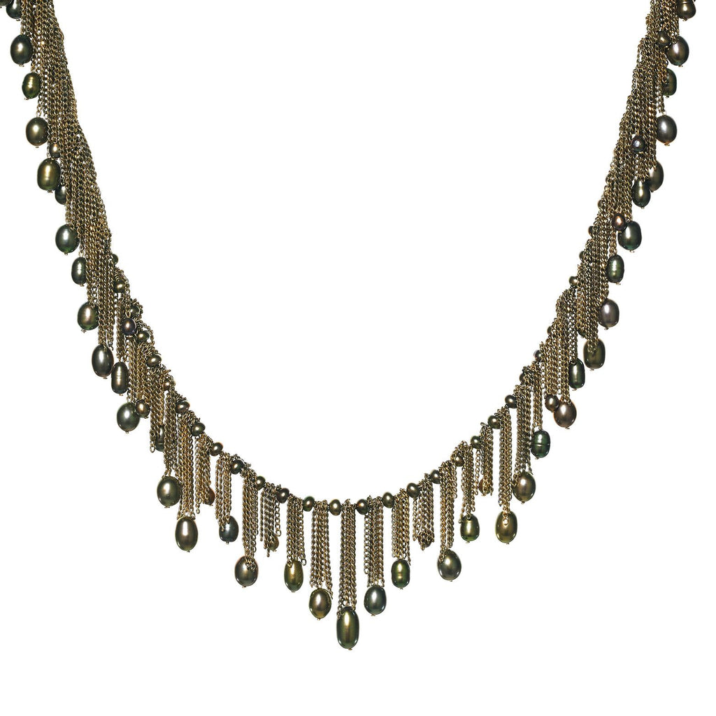 Estyn Hulbert - Estyn Hulbert Flowing Handmade Peacock Pearl Multichain 14k Drop Necklace - Szor Collections - 1