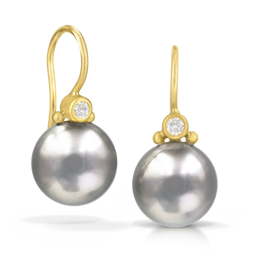 Denise Betesh Tahitian Pearl White Diamond Drop Earrings - Szor Collections