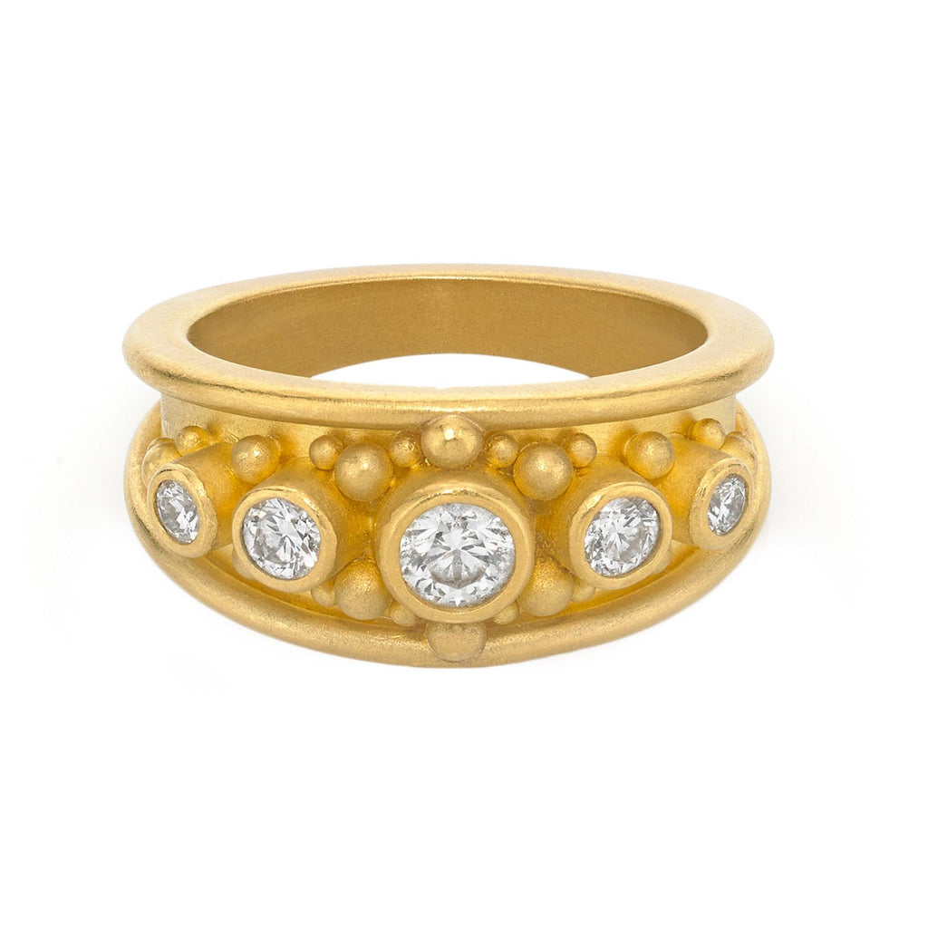 Denise Betesh Diamond Gold Granulation Cigar Band Ring (Special Order) - Szor Collections