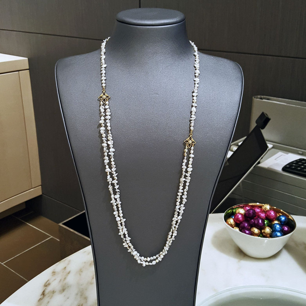 "Denise Betesh Blue Silver Keshi Pearl Double Strand Gold Diamond 36"" Necklace - Szor Collections"
