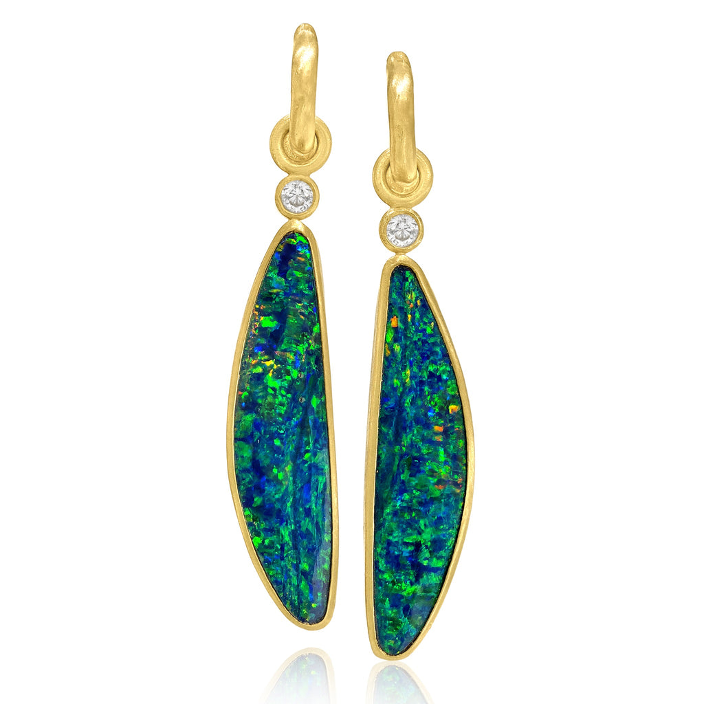 Denise Betesh One of a Kind Opal Diamond Gold Detachable Drop Earrings - Szor Collections