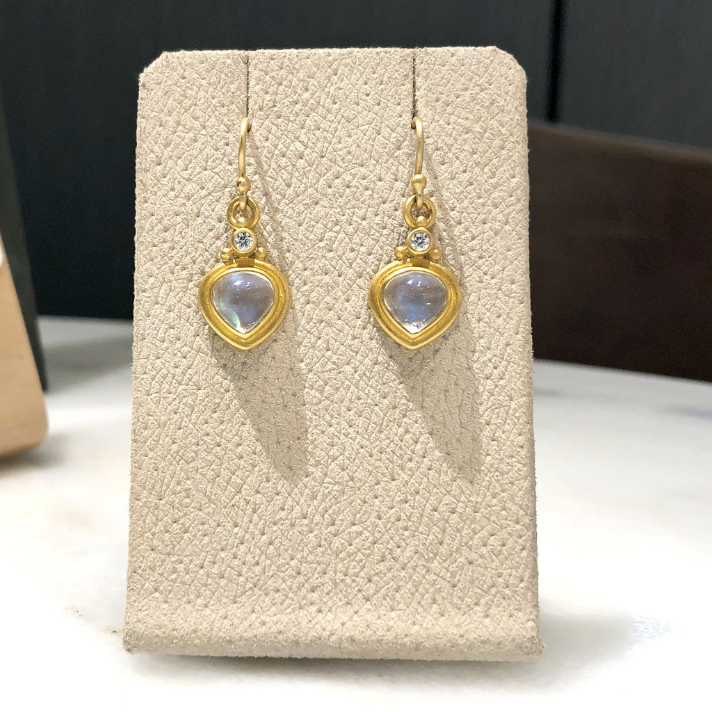 Denise Betesh Tabiz Moonstone White Diamond One of a Kind Drop Earrings - Szor Collections