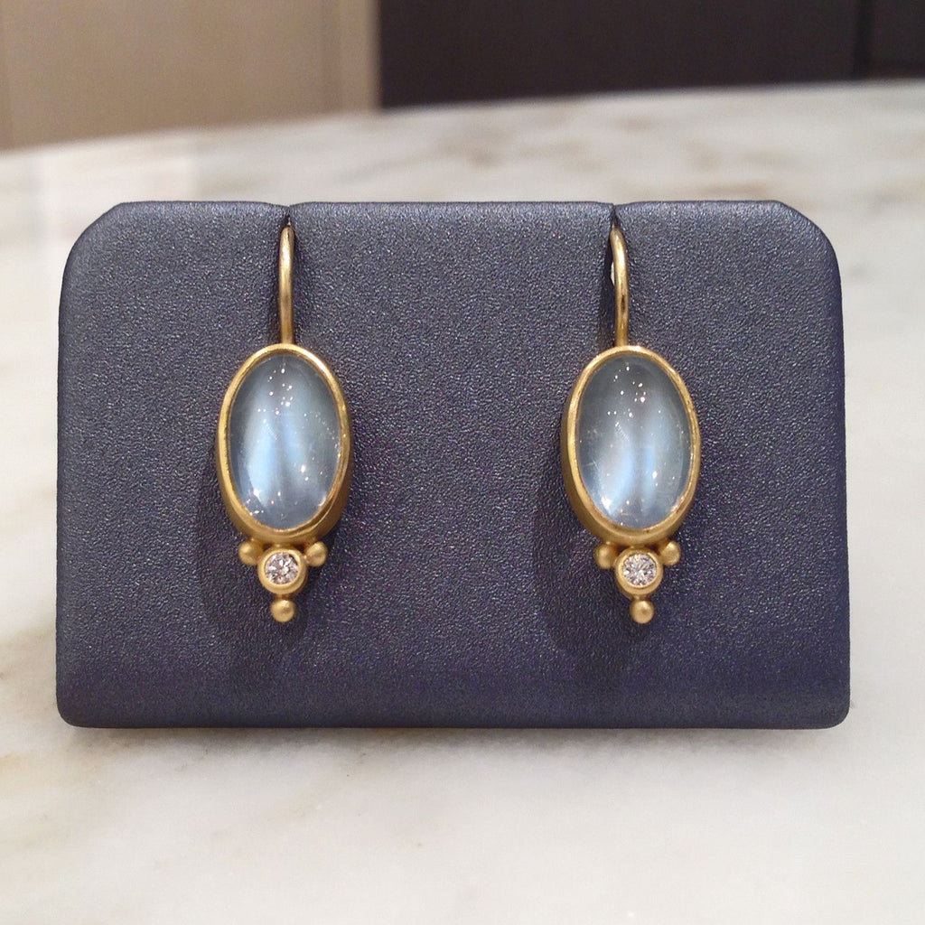 Denise Betesh Cat's Eye Moonstone Diamond Gold Platinum Earrings - Szor Collections