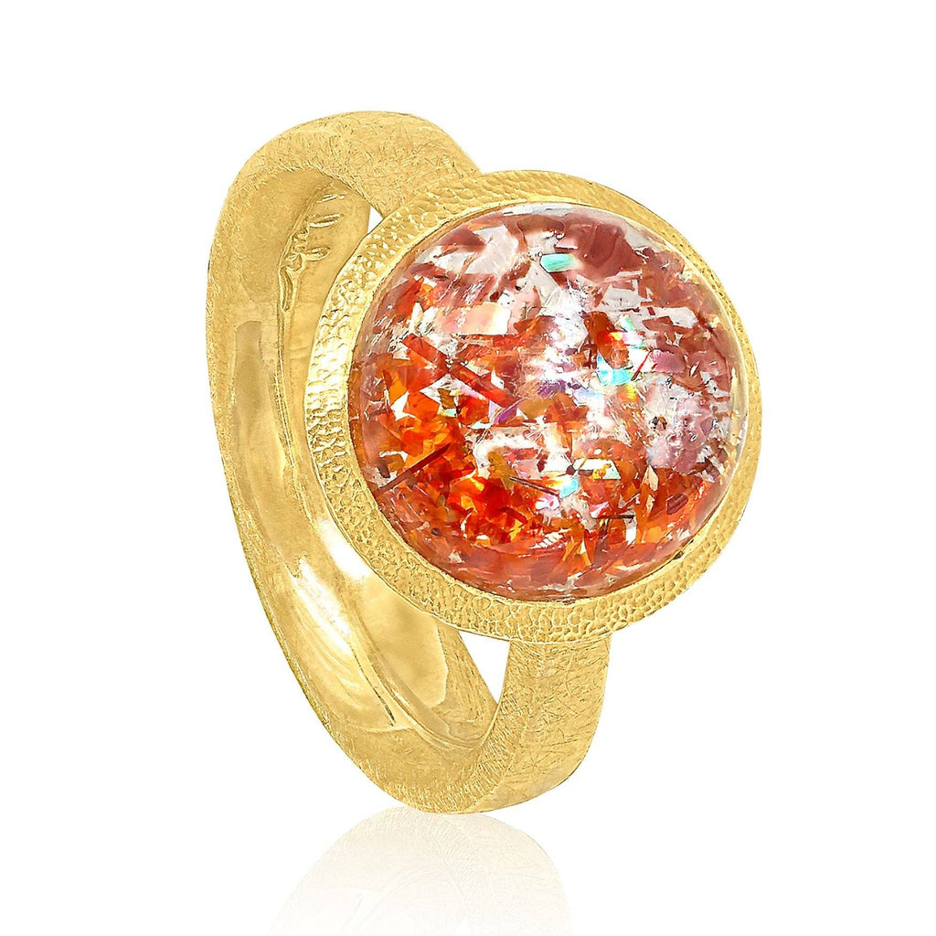 Devta Doolan Prized Natural Rainbow Sunstone One of a Kind Gold Ring - Szor Collections