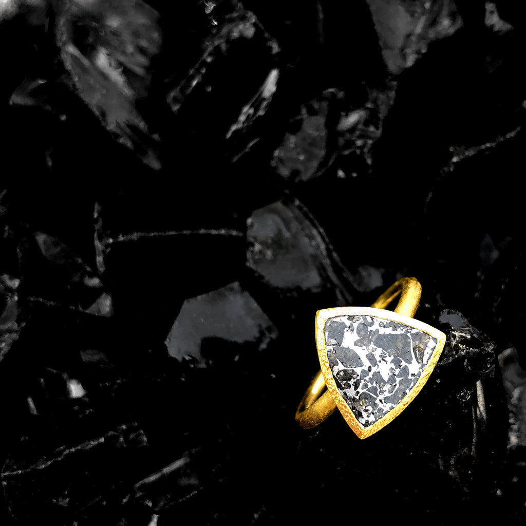 Devta Doolan Reflective Meteorite Gold One of a Kind Solitaire Ring - Szor Collections
