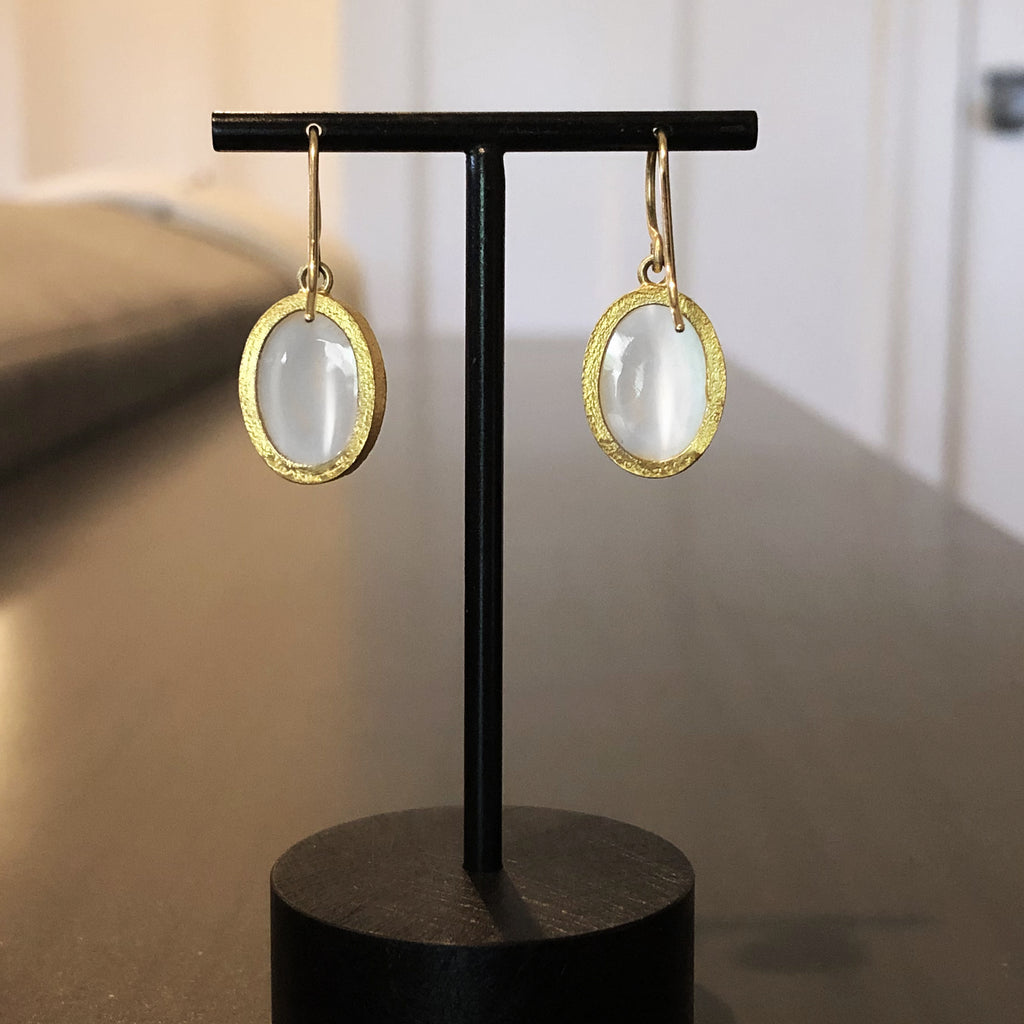 Devta Doolan Oval Cat's-Eye Silver Moonstone One of a Kind Gold Drop Earrings - Szor Collections