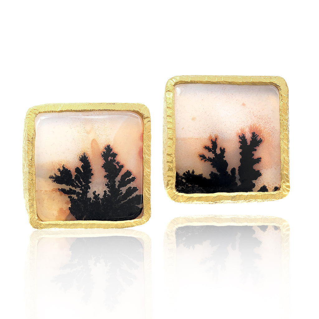 Devta Doolan Matched Dendritic Agate Square One of a Kind Stud Earrings - Szor Collections