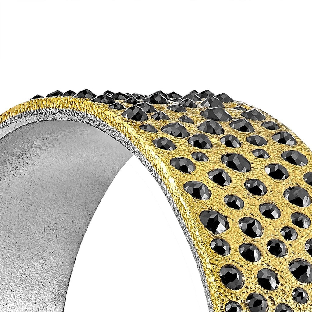 Devta Doolan 10.31 Carat Black Diamond Gold Platinum One of a Kind Cuff Bracelet - Szor Collections