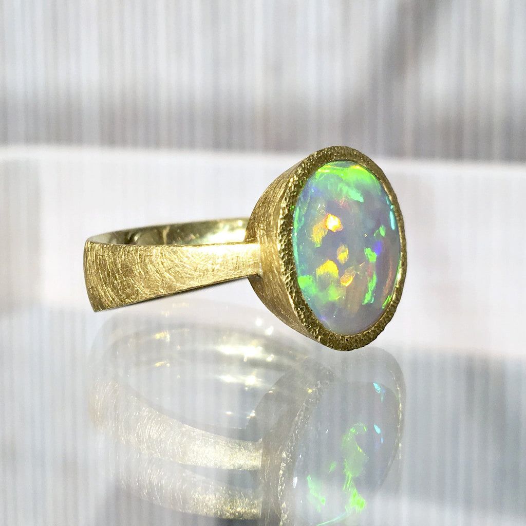 Devta Doolan One of a Kind Lightning Ridge Opal Gold Ring - Szor Collections - 6