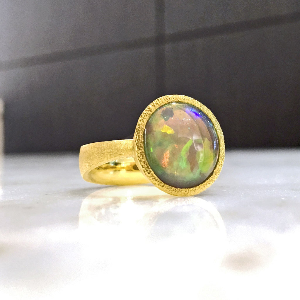 Devta Doolan One of a Kind Lightning Ridge Opal Gold Ring - Szor Collections - 3