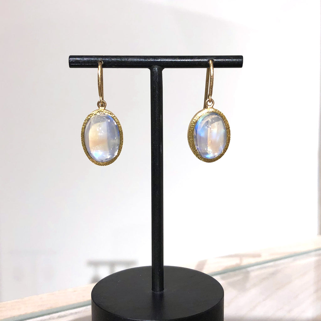 Devta Doolan Oval Rainbow Moonstone Dangle Drop Earrings - Szor Collections