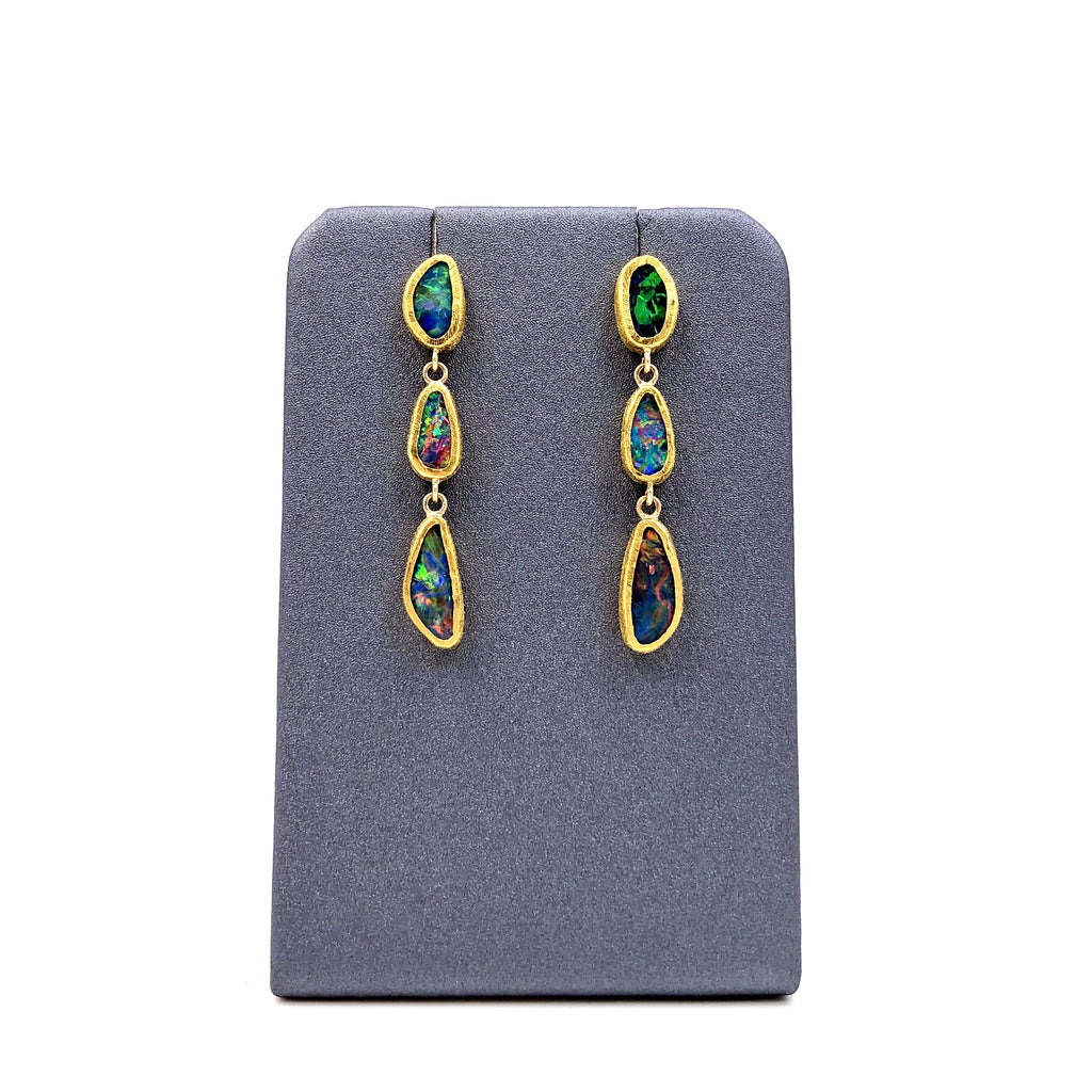 Devta Doolan Opal Doublet Rainbow Fire Triple Drop One-of-a-Kind Earrings - Szor Collections