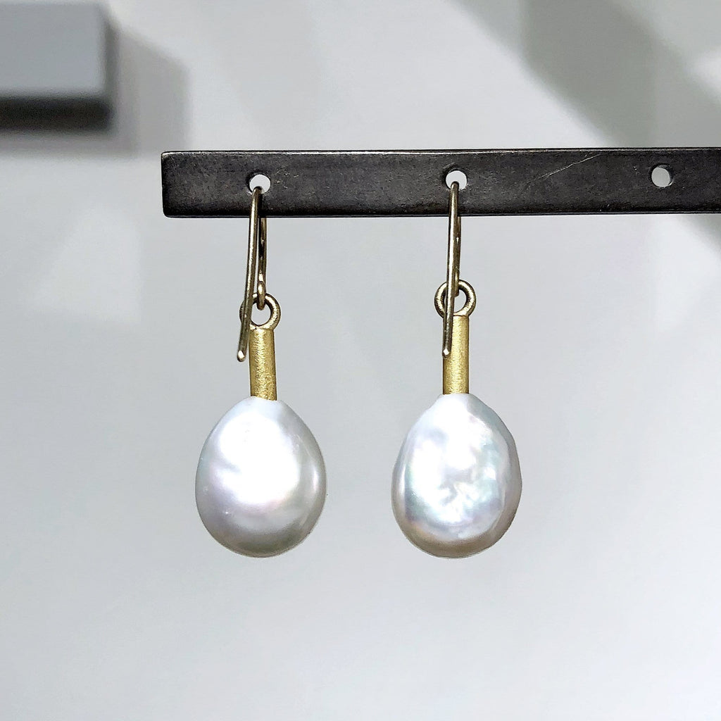 Devta Doolan Baroque Freshwater Pearl Gold Sleeve Drop Earrings - Szor Collections