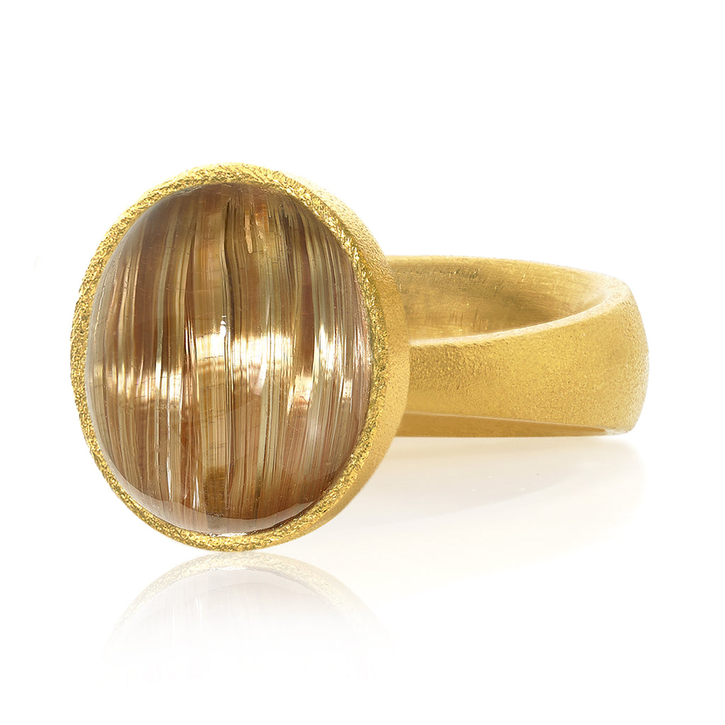 Devta Doolan Rare Cat's-Eye Golden Rutilated Quartz One of a Kind Gold Ring - Szor Collections