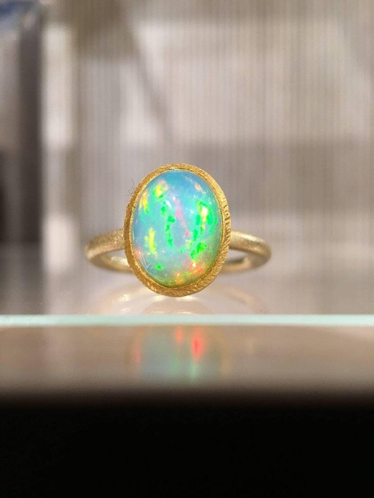 Devta Doolan Electric Rainbow Flash White Opal Gold Ring - Szor Collections