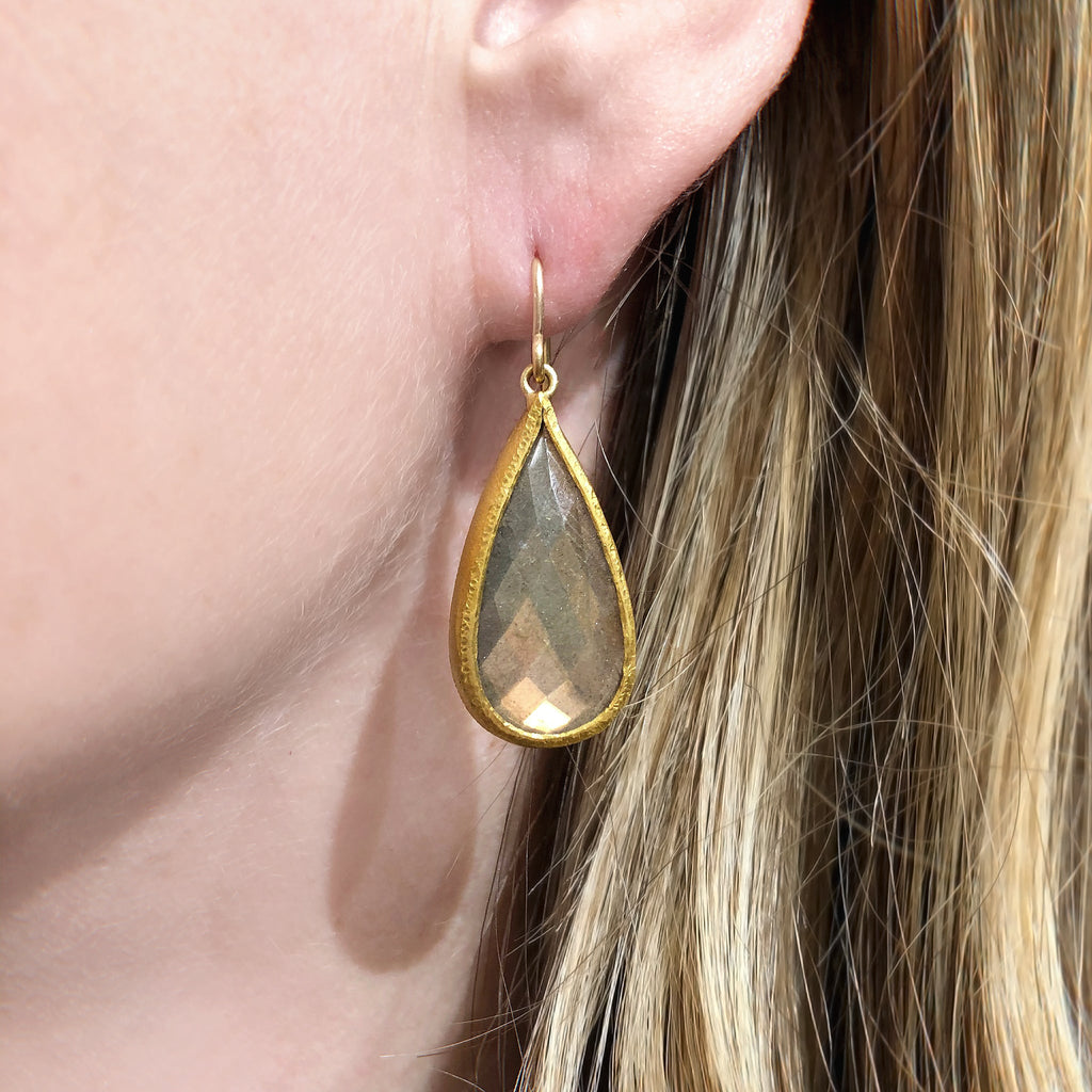 Devta Doolan Fine Spectrolite Labradorite Gold One of a Kind Earrings - Szor Collections