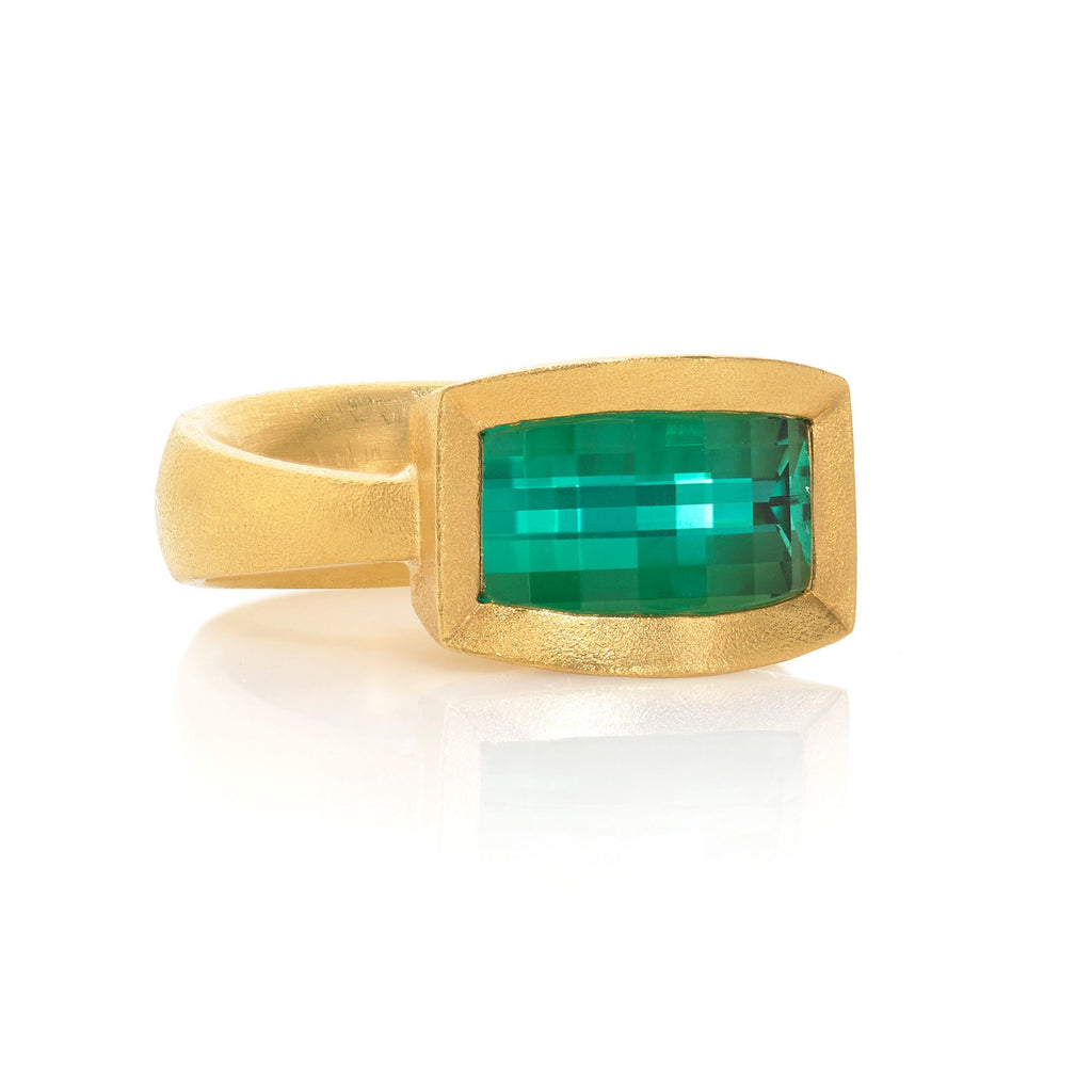 Devta Doolan One of a Kind Geometric Grid Bluish-Green Tourmaline Gold Ring - Szor Collections