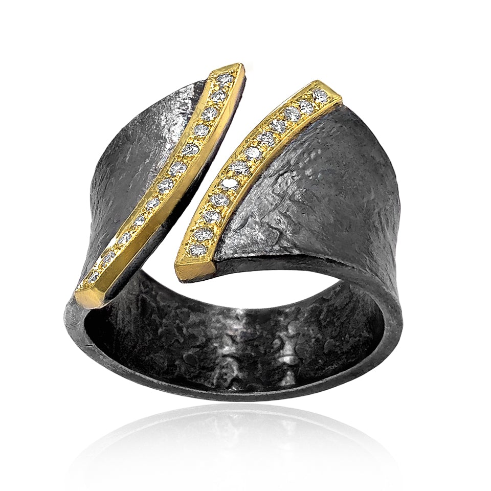 Elizabeth Garvin Diamond Edges Open Band Cyclone Ring - Szor Collections