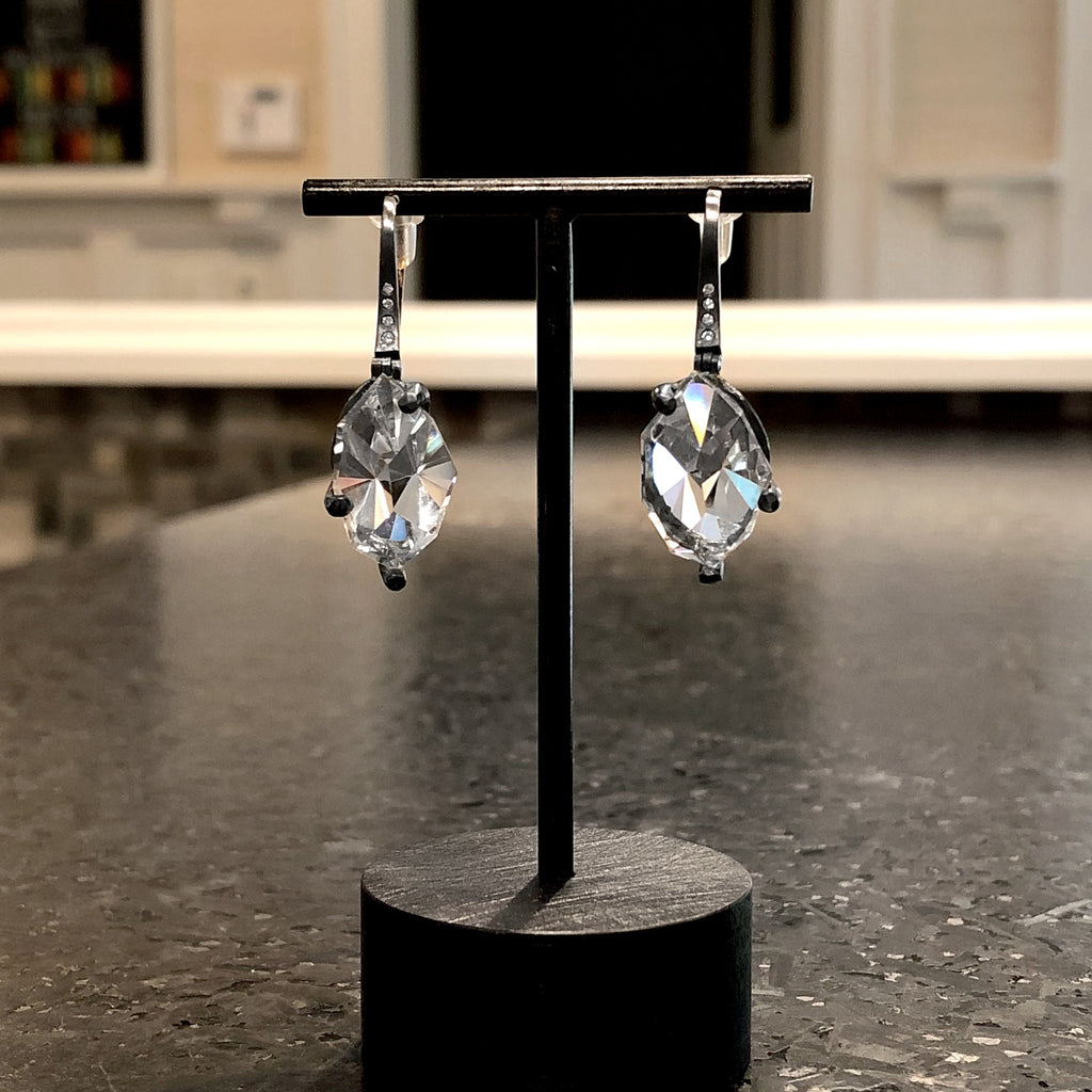 Elizabeth Garvin Mirror-Cut Rock Crystal Diamond Oxidized Silver Facets Earrings - Szor Collections