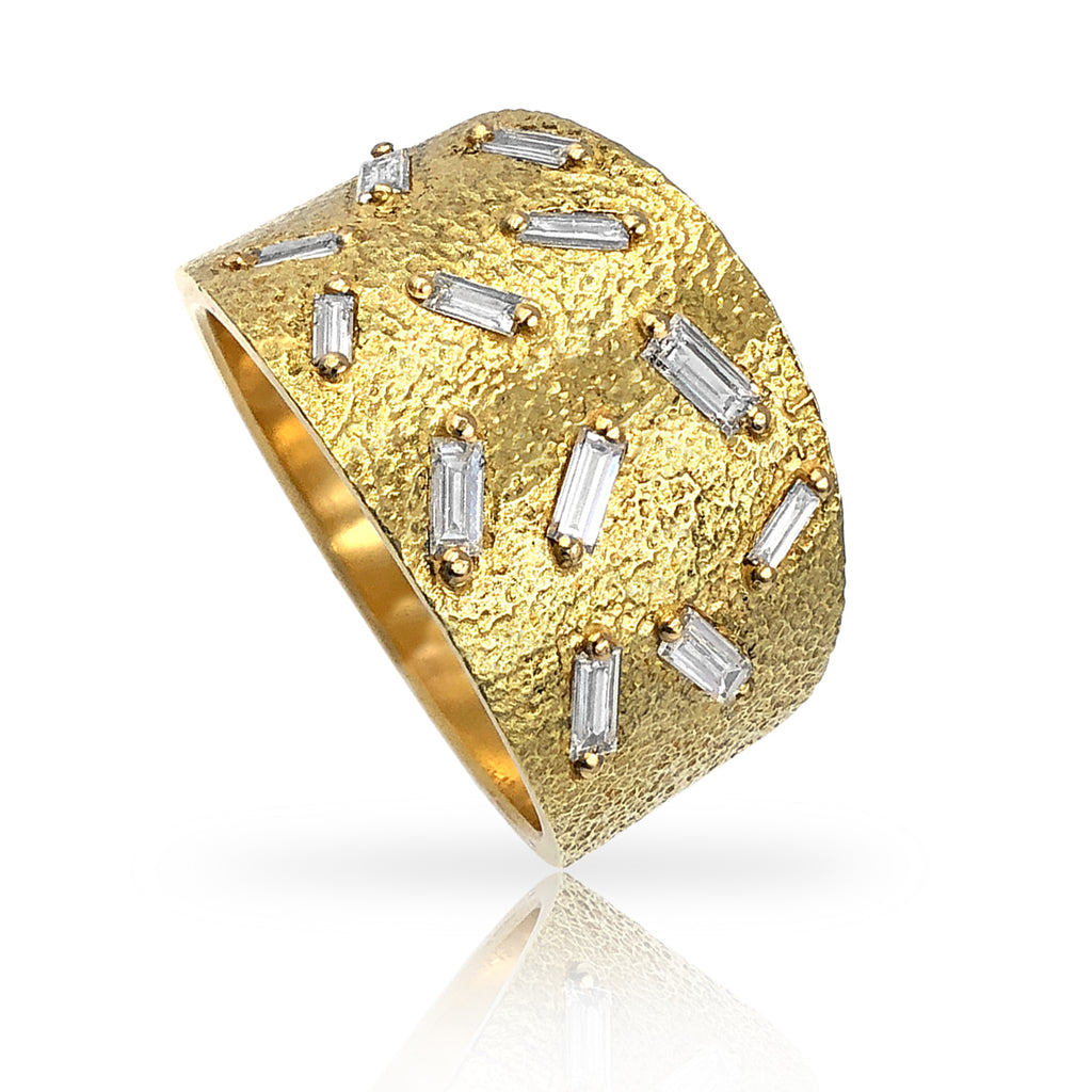 Elizabeth Garvin White Diamond Baguette Gold Ice Ring (Special Order) - Szor Collections