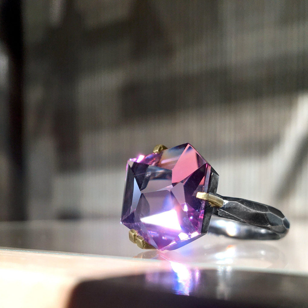 Elizabeth Garvin Custom Cut Amethyst Gold Oxidized Silver Facets Ring - Szor Collections