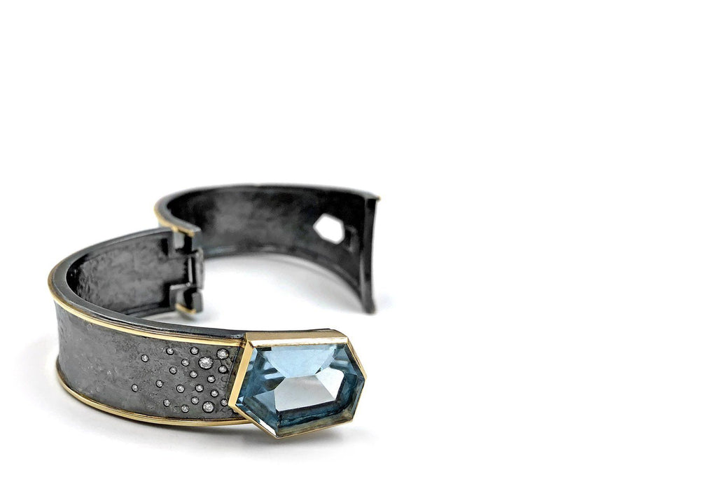 Elizabeth Garvin Aquamarine Diamond Silver Gold Cyclone Cuff - Szor Collections