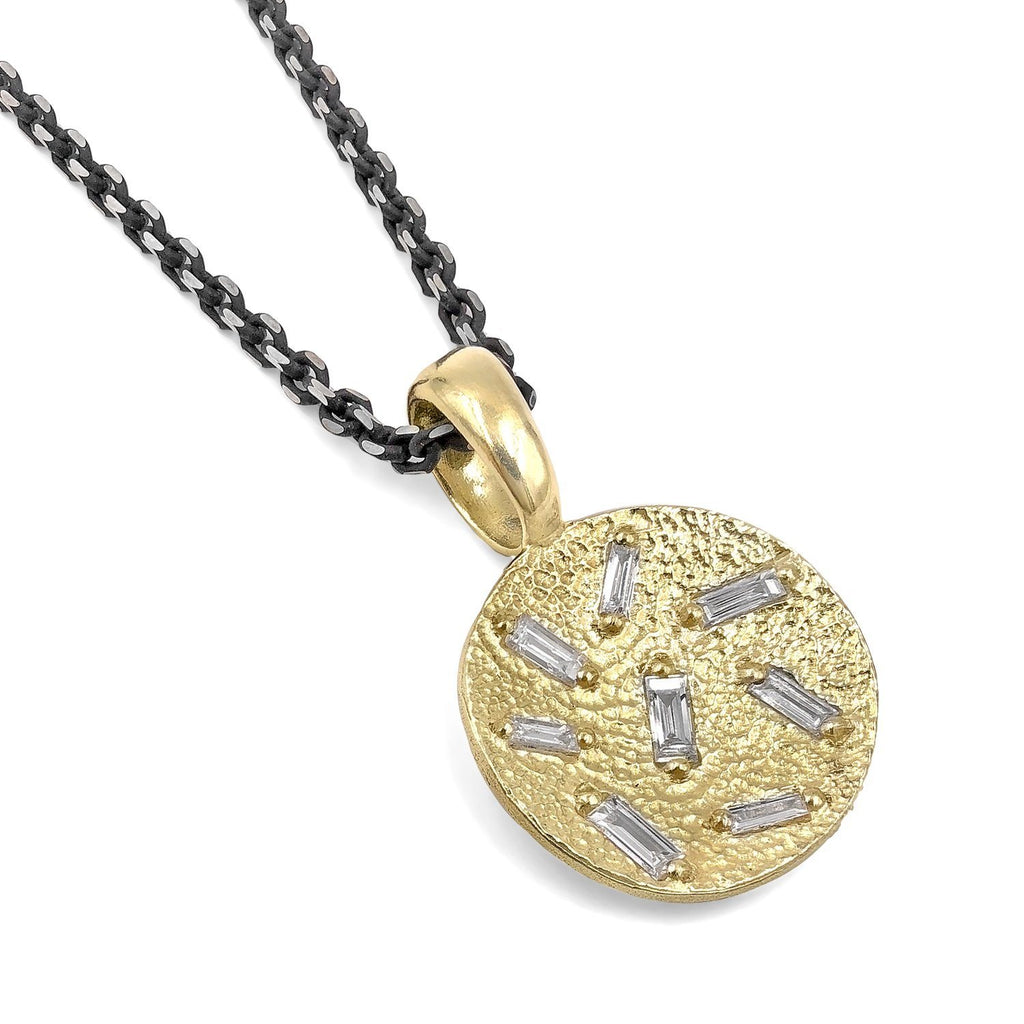 Elizabeth Garvin Diamond Baguette Concave Coin Gold Drop Necklace (Special Order) - Szor Collections