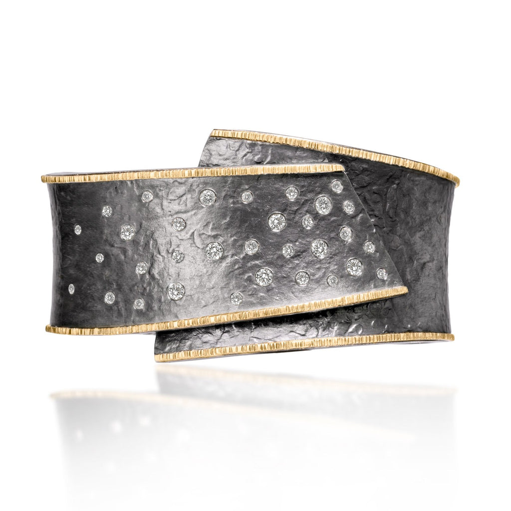 Elizabeth Garvin Diamond Embedded Gold Oxidized Silver Cyclone Cuff (Special Order) - Szor Collections