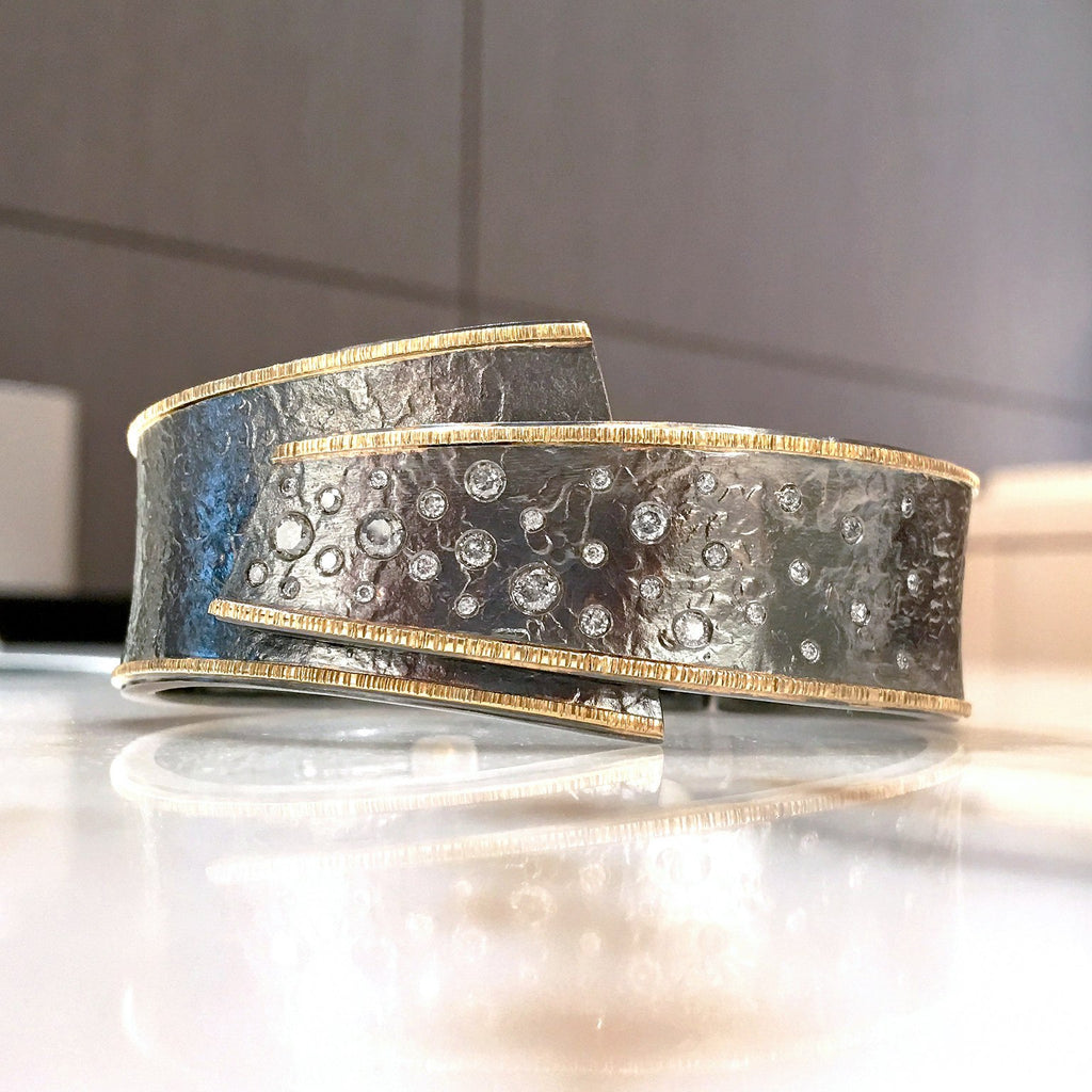 Elizabeth Garvin Diamond Embedded Gold Oxidized Silver Cyclone Slim Cuff - Szor Collections