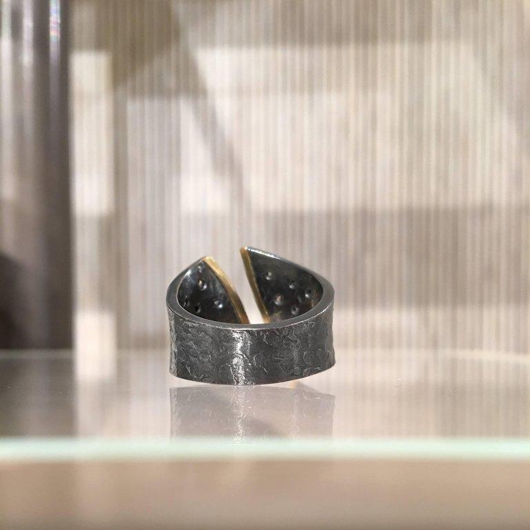Elizabeth Garvin Diamond Oxidized Silver Yellow Gold Open Cyclone Ring - Szor Collections