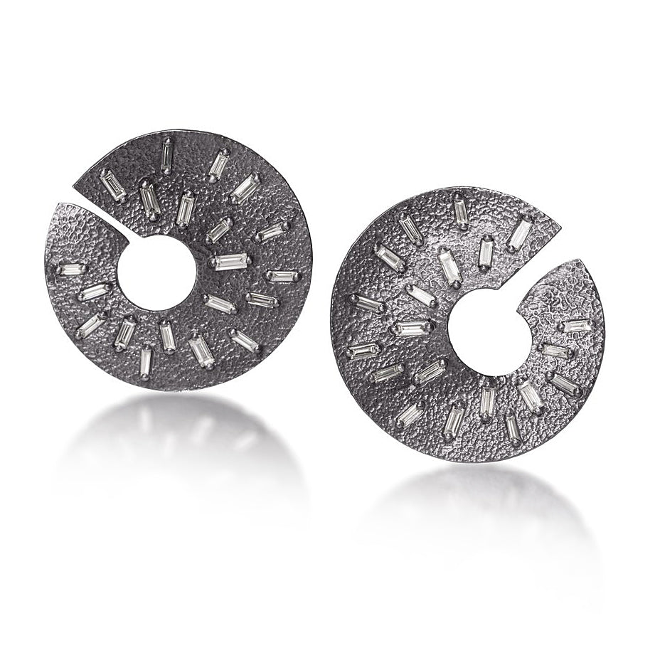 Elizabeth Garvin Diamond Baguette Ice Spiral Oxidized Silver Earrings - Szor Collections