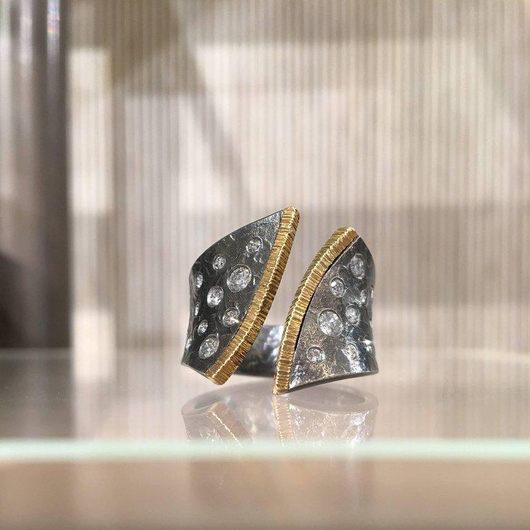 Elizabeth Garvin Diamond Oxidized Silver Yellow Gold Open Cyclone Ring (Special Order) - Szor Collections